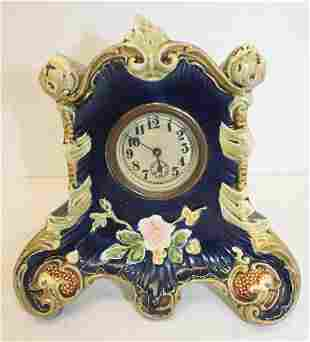 "Majolica porcelain mantle clock - wound tight - 7"" tall"