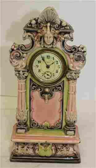 """New Haven pink porcelain clock w face dec - 10 3/4"""""""