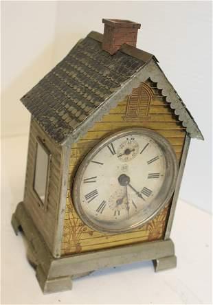 "Seth Thomas little metal house alarm clock - 6 1/2"""