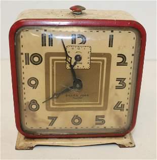 Art Deco Ingraham Silvertone painted white alarm clock