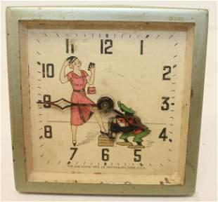 Lux Clock Co alarm clock w shoe shine boy automaton