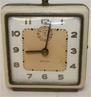 "Art Deco Westclock alrm clock - 4 1/4"" x 4 1/2"""