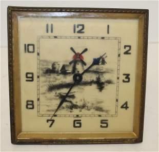 German alarm clock w windmill scenic celluloid face -