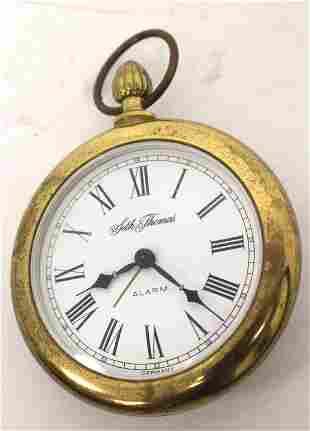 Seth Thomas pocket watch form alarm clock w inscription