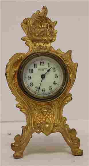 """New Haven spelter baroque style alarm clock - 8"""" tall"""