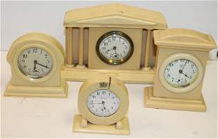 """4 small celluloid alarm clocks - Made in USA - 4""""x3"""