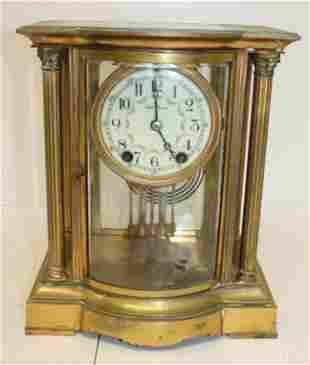 "Seth Thomas carriage clock w porcelain face - 11""tall x"