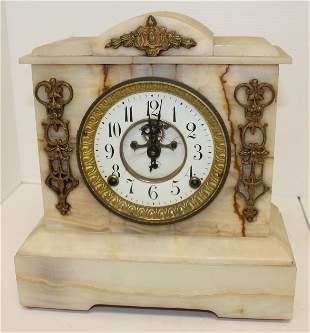 "Antique white marble mantle clock w ormulu trim - 12"""