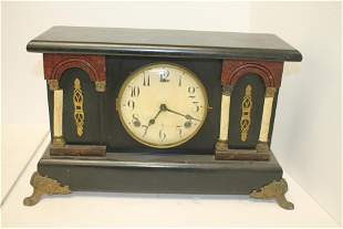 Wm L Gilbert CT wooden mantle clock w faux marble &