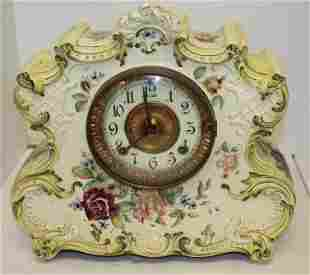 Ansonia porcelain mantle clock w hand painted floral