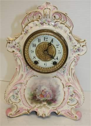 "Waterbury porcelain mantle clock - 11 1/4"" tall x 7"
