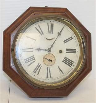 "Waterbury Clock Co octagonal wall clock - 10 3/4"" wide"