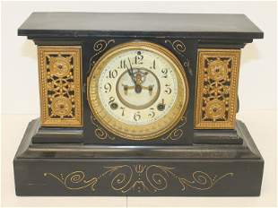 "Ansonia faux slate metal mantle clock - 10 1/4"" rall x"