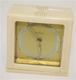 Seth Thomas Art Deco travel alarm clock in celluloid or