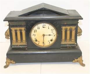 "Wm L Gilbert & Co CT wooden mantle clock - 17 1/4"" wide"