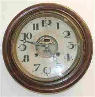 "Ideal round wooden wall clock - 13 1/4"" diam"