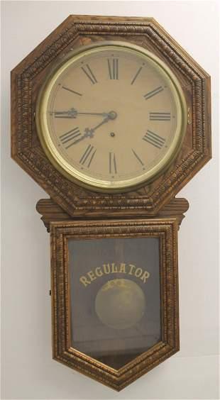 """Oak regulator wooden wall clock - 33"""" tall x 17 1/2"""""""