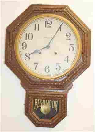 """Ingraham oak regulator wall clock - 25"""" tall x 17"""" wide"""