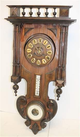"Antique oak wall clock w barometer - as is - 32"" tall x"