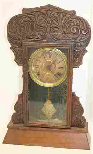 Wm L Gilbert antique oak gingerbread clock - as is 22