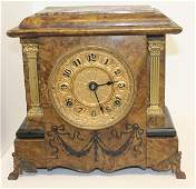 "Seth Thomas faux marble wooden mantle clock - 10""x12"