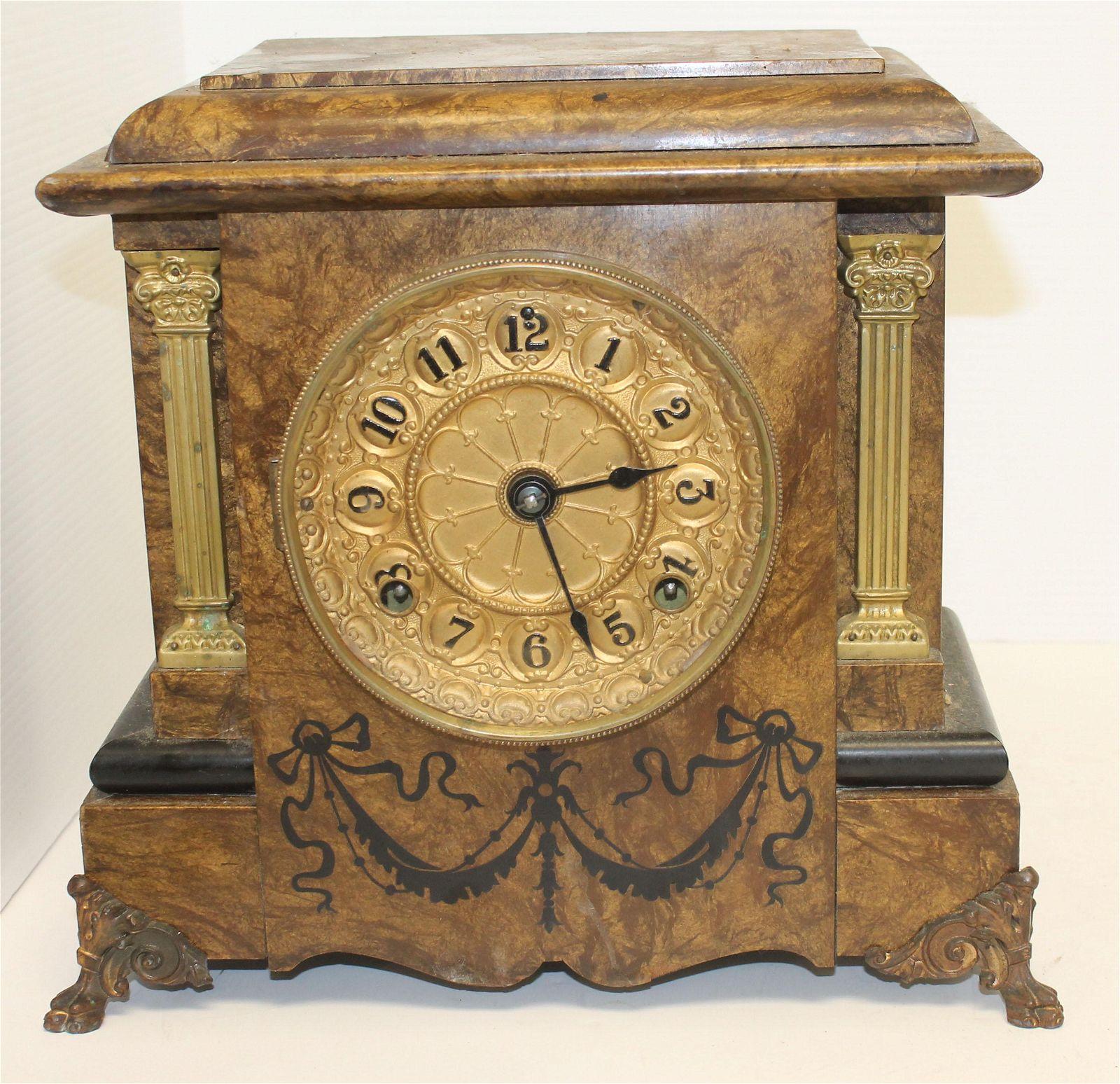 "Seth Thomas faux marble wooden mantle clock - 10""x12"