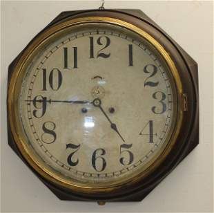 """Antique New Haven Schoolhouse wall clock - 16"""" tall"""