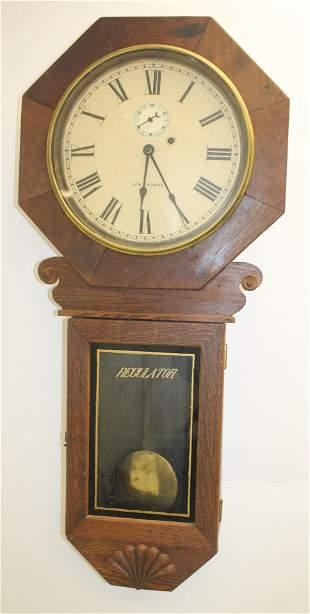 "Seth Thomas oak regulator wall clock - 37""x17"""
