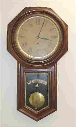 "Antique Ansonia mahog Regulator wall clock - 32"" tall x"