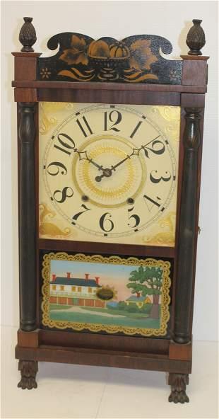 E & GW Bartholomew mantle clock w reverse painted door,