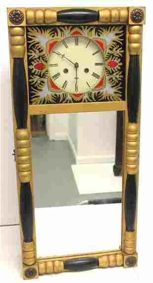 Sheraton style wall clock w reverse painted panel &