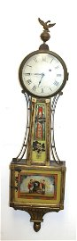 19thC John Sawin banjo clock w reverse painted door