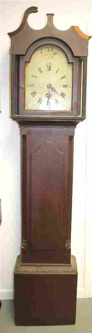 Grandfather clock - as found - crest pieces with the