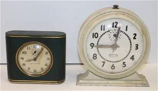 2 small alarm clock - Seth Thomas in leather case & 8