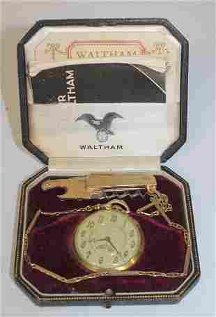 Waltham Royal 19 jewel pocket watch in 14k gold case w