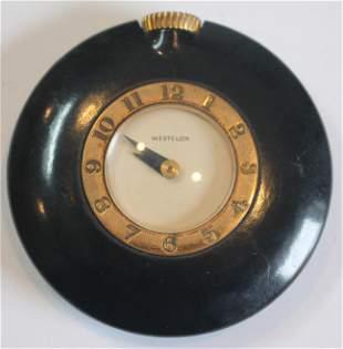Westclox Art Deco pocket watch in black plastic case