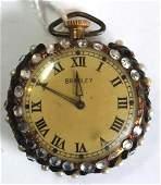 """Elgin Co """"Bradley"""" pocket watch w faux jewels around"""
