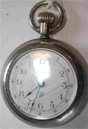 Waterbury pocket watch on German nickel plated watch