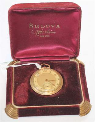 Bulova 17 jewel pocket watch 10k rolled gold plated in