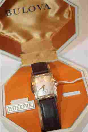 Bulova wrist watch on leather band in orig box