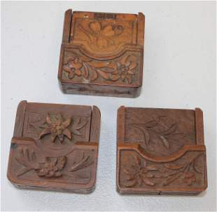 lot of 3 Black Forest carved flip pocket watch cases