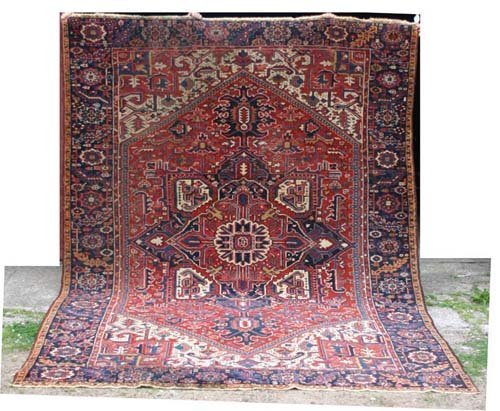 "1: Fine antique 8'6""x10'8"" Heriz Oriental Rug"