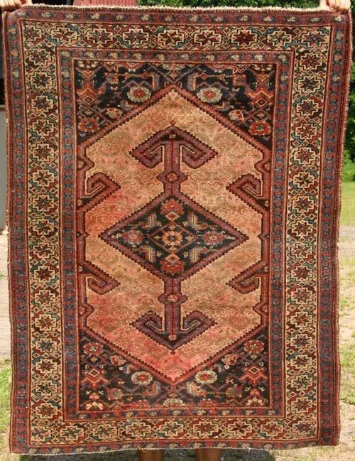 """4: 3'7"""" x 4'9"""" antique Serab Oriental Area Rug"""