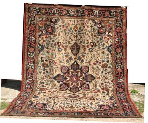 "5: 8x11'3"" rare camel ground antique Persian Heriz Orie"