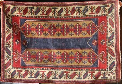 """6: 2'10""""x4'2"""" semi antique Turkish area rug"""