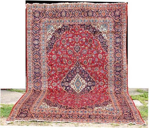 "11: 8'x12'9"" Persian Kashan Oriental Rug"