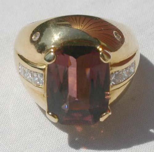 12: beautiful 18k gold amethyst & diamond ladies cockta