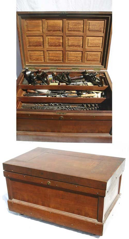 15A: wonderful quality antique tool box full of old too