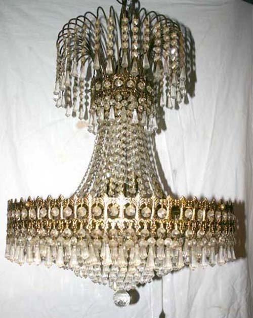 42A: attrib Strass multi prism brass & crystal chandeli