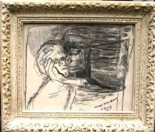 93: Rare Arshile Gorky (1904-1948) 7 ½ x 9 ½ charcoal &